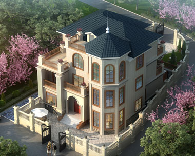 旅游区/景区特色三层复式楼中楼别墅建筑设计图纸12.7米x15.3米