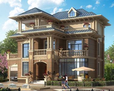 占地160平米四川资阳三层带车库别墅设计图纸14.5米x13.1米