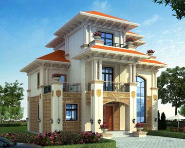 占地120平方米三层豪华欧式农村私人别墅设计施工图纸12米x10.3米