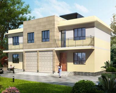 现代风格二层带车库双拼平顶别墅设计效果图