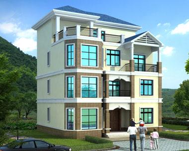 【兄弟合建】四层简洁大方套房别墅建筑设计效果图