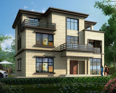 【带装修图纸】现代风格长沙宁乡三层复式客厅别墅效果图