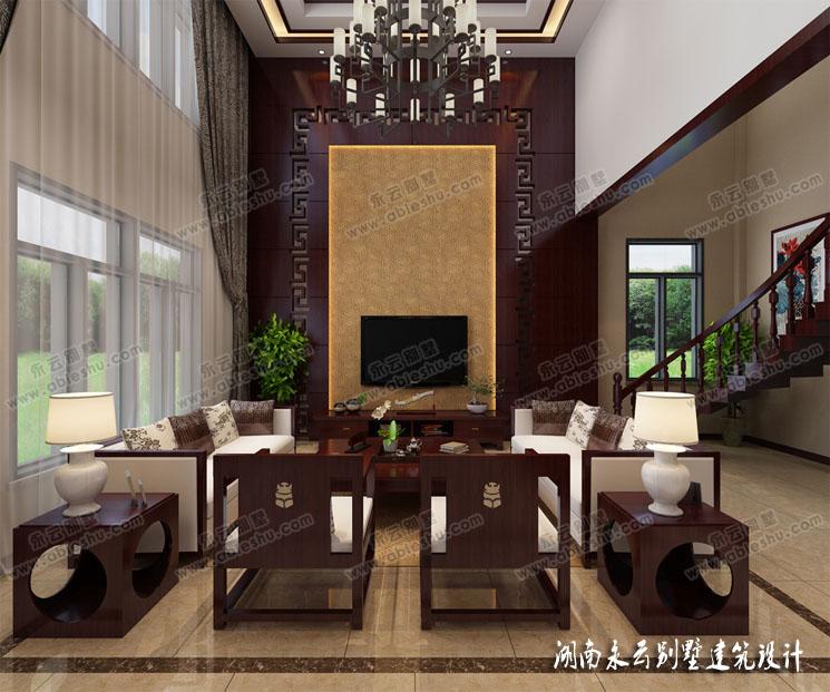 中式现代室内客厅装修效果图