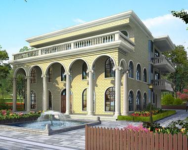 三层复式楼中楼俄罗斯风格平顶豪华别墅设计图纸13.8米x17.7米