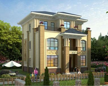 占地120平米简欧风格三层带露台别墅设计施工图纸11mx12.2m