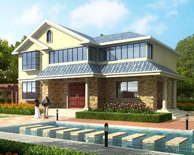 占地120平米二层精致简欧别墅效果图设计