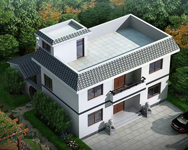 带内庭院二层简约实用平顶房屋设计全套图纸11.1mX12.3m