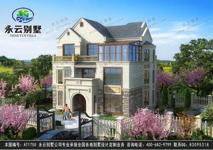 江山市优雅三层带阳光房复式别墅效果图