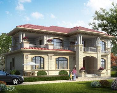 简欧豪华大气二层带堂屋别墅设计外观效果图