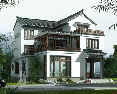 三层中式复古风格带内庭院别墅效果图