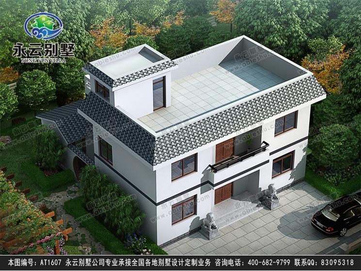 带内庭院二层简约实用平顶房屋设计效果图