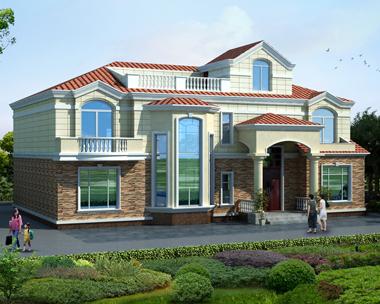 二层简欧带屋顶花园复式别墅效果图