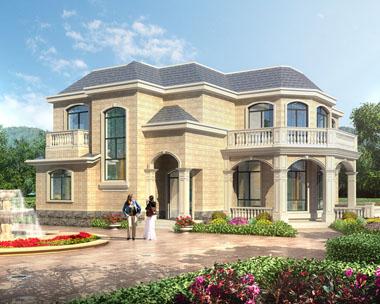 【带装修图纸】二层欧式带观景台及阳光房别墅效果图