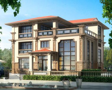 2019新款别墅外观图三层复式简欧带局部地下室别墅效果图