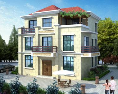 现代简约占地110平米三层漂亮小别墅效果图