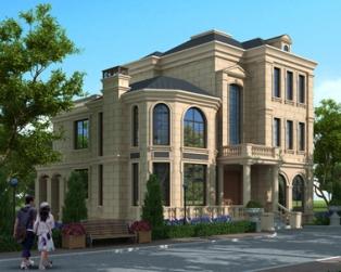 AT1772法式风格三层豪华大气复式楼中楼别墅全套建筑施工图纸12.4米X15.5米