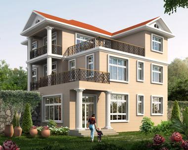 三层漂亮现代风格带屋顶花园复式楼别墅效果图