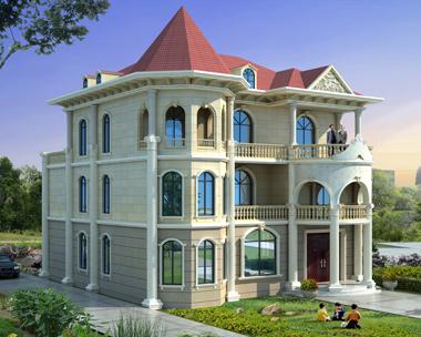 私家别墅定制设计三层漂亮简欧别墅效果图