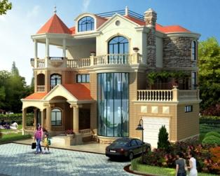 AT1775新农村私人漂亮三层带车库复式楼中楼别墅设计施工图纸18米X15.5米