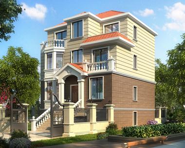 占地110平米2019新款三层简洁带架空层车库别墅设计图纸10米X11.3米