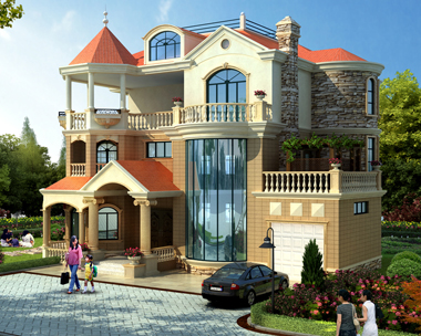 新农村私人漂亮三层带车库复式楼别墅设计效果图