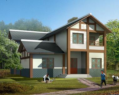 川西中式风格二层带车库民族特色小别墅效果图设计