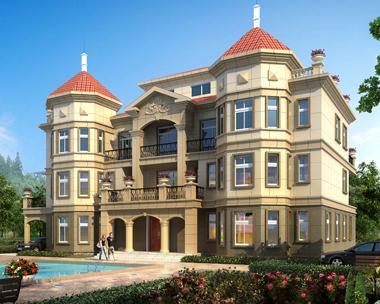 占地三百平方四层高端大气复式楼中楼大型别墅设计图纸26.4mX15.5m