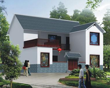 二层前后院中式新农村自建小别墅设计外观效果图