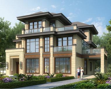 新亚洲带内庭院三层高端大气别墅设计效果图