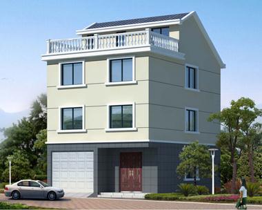 三层半带车库简洁实用自建房屋施工效果图