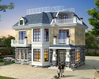 二层带阁楼简欧漂亮实用小别墅建筑施工效果图