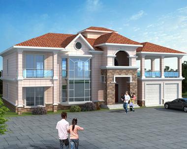 简洁漂亮二层带双车库复式楼别墅建筑设计效果图