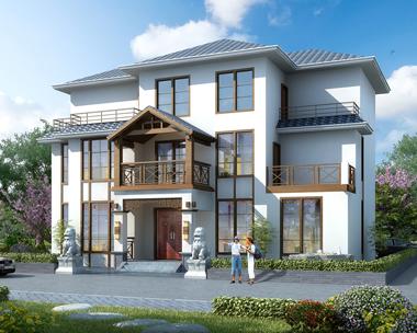 现代中式风格三层带局部地下室复式客厅别墅外观效果图设计