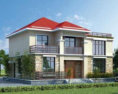 简洁二层复式楼带屋顶花园自建别墅效果图设计