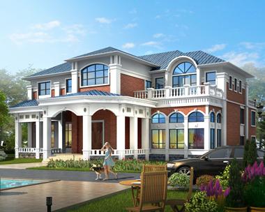 简欧风格豪华二层带双车库大型别墅设计效果图