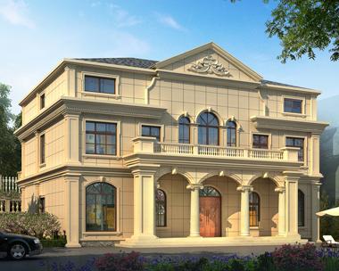 二层半法式风格别墅设计施工外观效果图