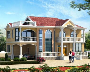 漂亮二层简欧带车库复式别墅外观效果图设计