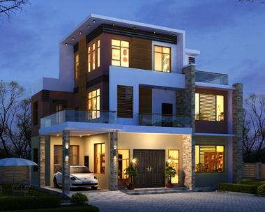 现代风格三层带车库漂亮别墅外观效果图设计
