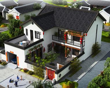 二层中式风格带车库及内庭院别墅外观效果图