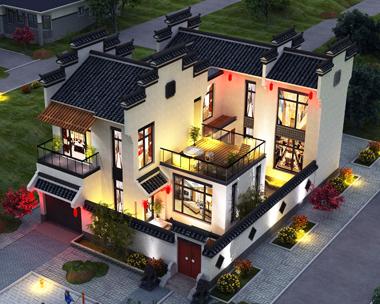 徽派建筑二层带 两内院漂亮别墅外观效果图设计
