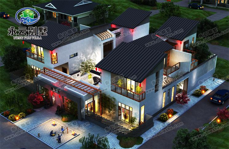 二层漂亮中式四合院建筑别墅效果图设计