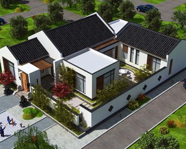一层带内庭院中式风格优雅别墅建筑效果图设计