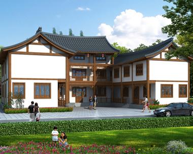 二层中式三合院兄弟别墅设计全套施工图纸25.6mX23.6m