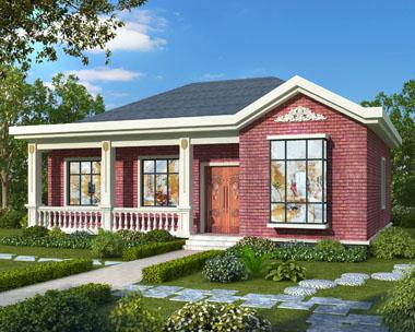 新农村简单漂亮一层带走廊别墅设计施工图纸14.1mX12m