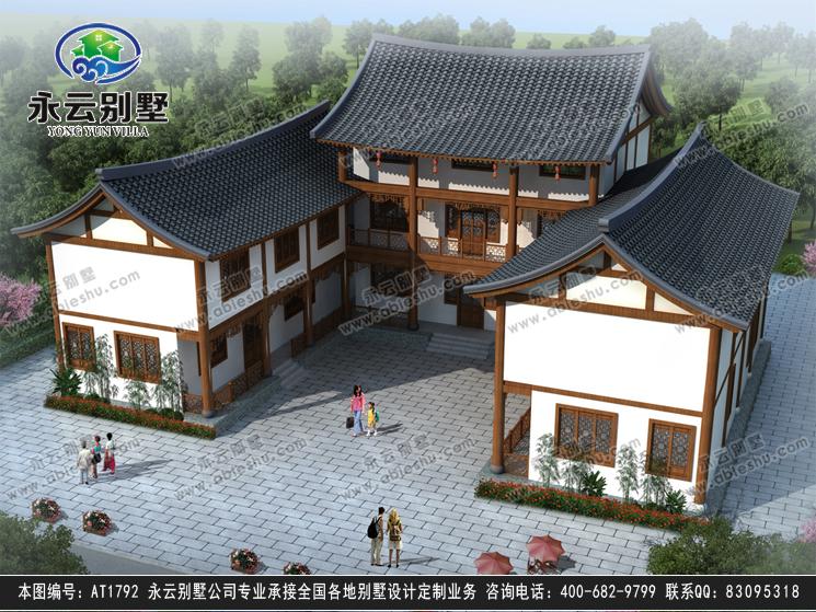 二层中式三合院兄弟别墅设计效果图