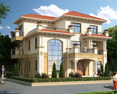 私人豪华三层复式楼别墅建筑设计外观效果图