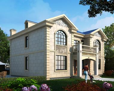 二层简欧前后门廊带堂屋别墅外观效果图设计