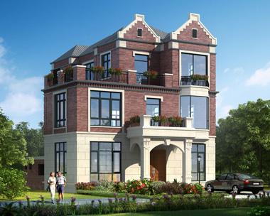 英伦风三层带内庭院漂亮别墅外观效果图设计