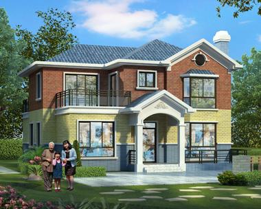 2019新款二层新农村自建漂亮别墅施工图纸及外观图设计13mX14m