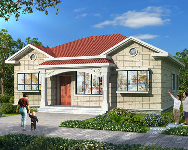 农村自建四房二厅一厨一卫一层漂亮别墅施工图纸12.7mX11.5m